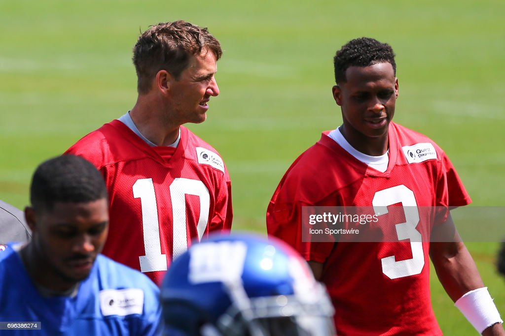 New York Giants quarterback Eli Manning (10) and New York Giants quarterback Geno Smith (3) leave the field after New York Giants Mini Camp on June 14, 2017 at the Quest Diagnostics Training Center in East Rutherford, NJ.