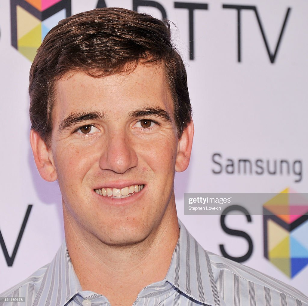 New York Giants Quarterback <a gi-track='captionPersonalityLinkClicked' href=/galleries/search?phrase=Eli+Manning&family=editorial&specificpeople=202013 ng-click='$event.stopPropagation()'>Eli Manning</a> attends Samsung's 2013 Television Line Launch Eventat Museum Of American Finance on March 20, 2013 in New York City.