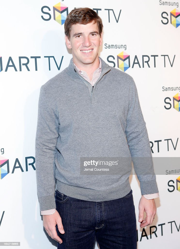 New York Giants quarterback Eli Manning attends The Samsung Spring 2013 Launch at Museum Of American Finance on March 20, 2013 in New York City.