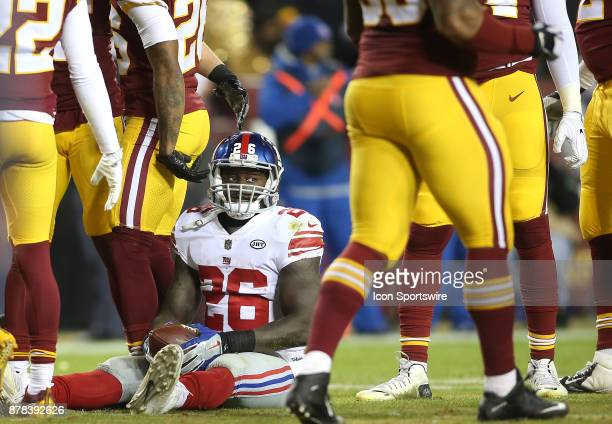 New York Giants running back Orleans Darkwa on the ground after a tackle during a NFL game between the Washington Redskins and the New York Giants on...