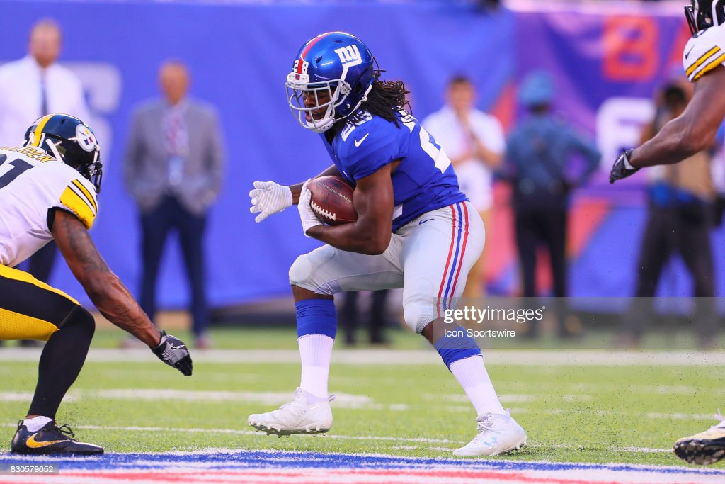 New York Giants running back Paul Perkins (28) during the Preseason National Football League game between the New York Giants and the Pittsburgh Steelers on August 11, 2017, at Met Life Stadium in East Rutherford, NJ.