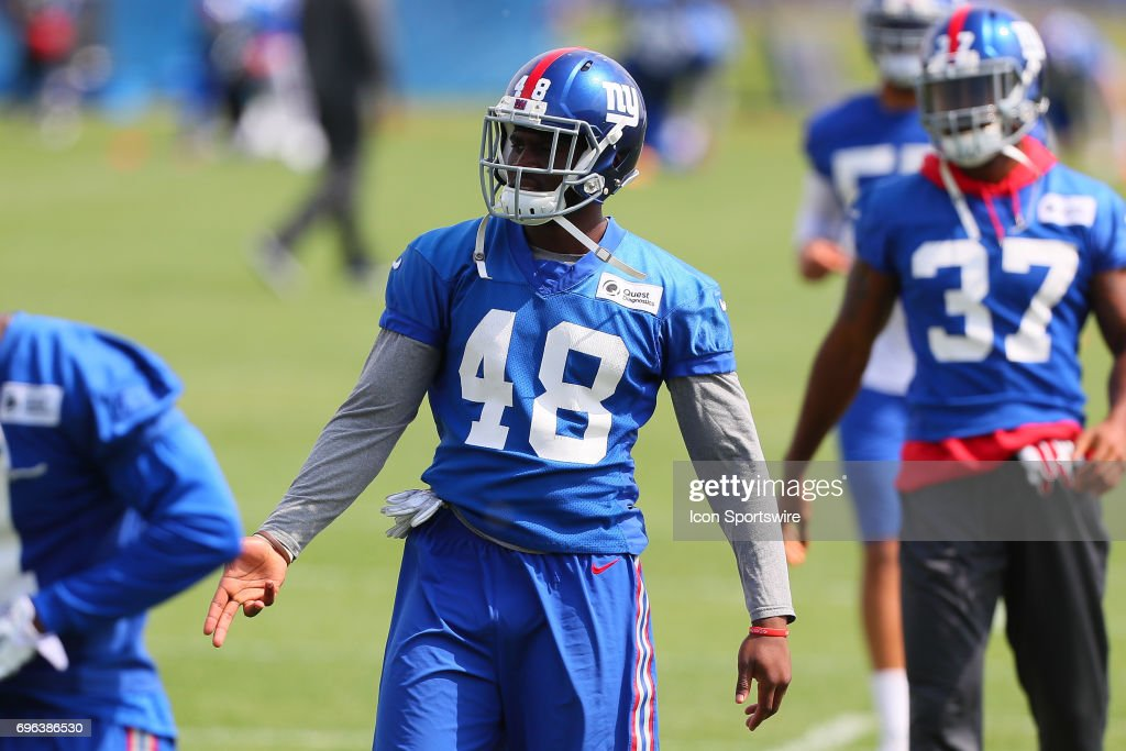 New York Giants safety Trey Robinson (48) walks in at the end of practice during New York Giants Mini Camp on June 14, 2017 at the Quest Diagnostics Training Center in East Rutherford, NJ.