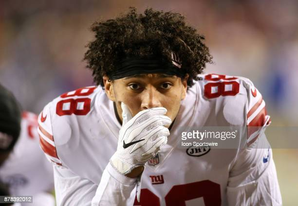 New York Giants tight end Evan Engram before a NFL game between the Washington Redskins and the New York Giants on November 23 at Fedex Field in...