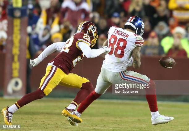 New York Giants tight end Evan Engram fails to hold onto the ball as Washington Redskins strong safety Deshazor Everett moves in during a NFL game...