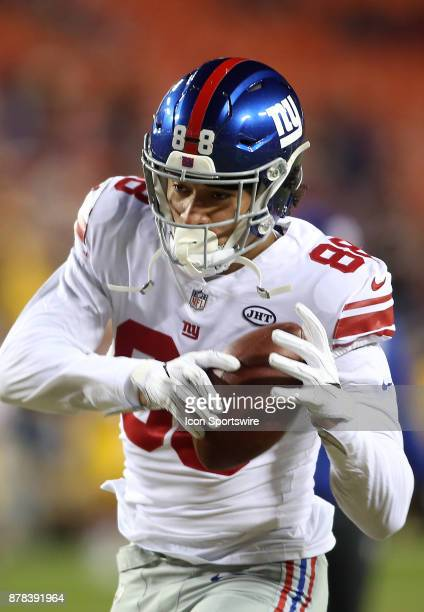 New York Giants tight end Evan Engram warms up before a NFL game between the Washington Redskins and the New York Giants on November 23 at Fedex...