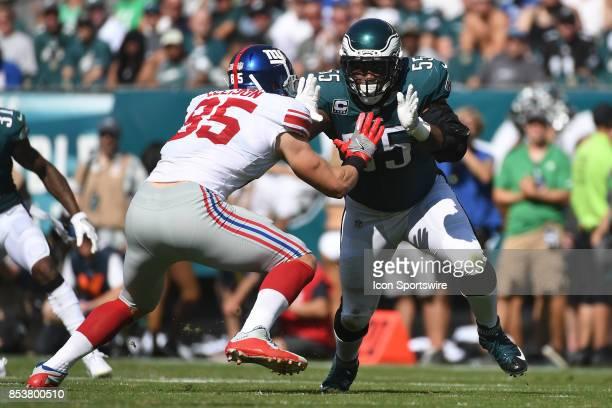 New York Giants tight end Rhett Ellison blocks Philadelphia Eagles defensive end Brandon Graham during a NFL football game between the New York...