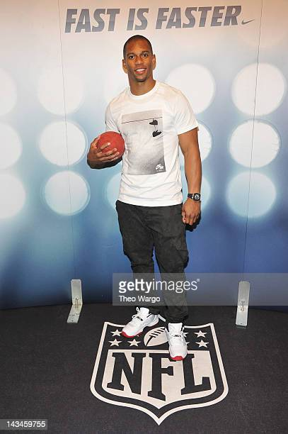New York Giants Victor Cruz attends the Launch Of The New NFL Uniforms at NikeTown on April 26 2012 in New York City