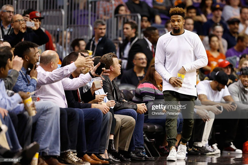 New York Giants wide receiver Odell Beckham Jr attends the NBA game between the Phoenix Suns and the Cleveland Cavaliers at US Airways Center on...