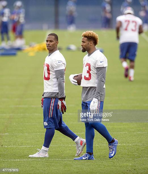 New York Giants wide receiver Victor Cruz and Giants wide receiver Odell Beckham New York Giants Mini Camp Thursday June 18 2015 in East Rutherford