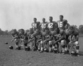 New York Giants work out at Fairfield University Offensive team front lr Bob Schnelker Frank Youso Jack Stroud Ray Wietcha Darrell Dees Rosey Brown...