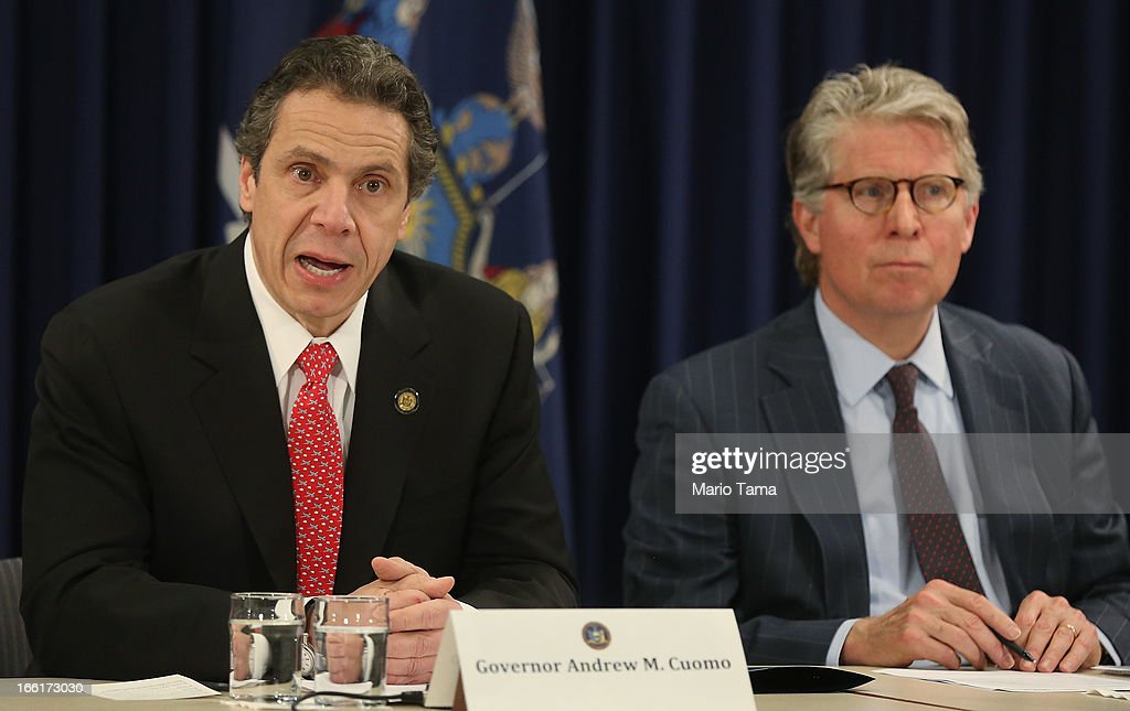 New York Gov. <a gi-track='captionPersonalityLinkClicked' href=/galleries/search?phrase=Andrew+Cuomo&family=editorial&specificpeople=228332 ng-click='$event.stopPropagation()'>Andrew Cuomo</a> (L) speaks as Manhattan District Attorney Cy Vance looks on at a press conference on new corruption legislation on April 9, 2013 in New York City. Cuomo announced the Public Trust Act which would establish a new class of corruption crimes and require officials to report corruption. New York State politicians were arrested in two bribery cases last week.