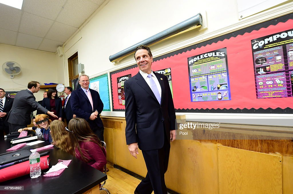 New York Gov Andrew Cuomo takes a tour of Mineola Middle School at Mineola Middle School on October 27 2014 in Mineola New York Governor Cuomo...