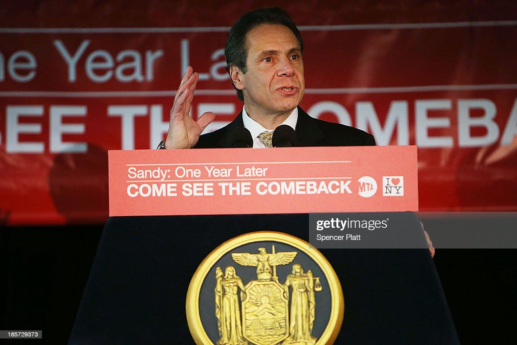 New York Gov. Andrew M. Cuomo speaks at the unveiling of three new television commercials that are part of the the launch of a new I Love New York campaign in partnership with the Metropolitan Transportation Authority (MTA) on October 24, 2013 in New York City. The new campaign, which three new commercials to officials and the media, is designed to promote autumn and winter tourism throughout the State following the one year anniversary of Hurricane Sandy.