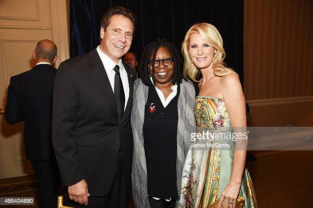 New York Govenor Andrew Cuomo actress Whoopi Goldberg and chef Sandra Lee attend Elton John AIDS Foundation's 14th Annual An Enduring Vision Benefit...