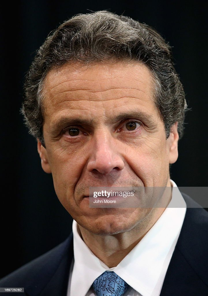New York Governor Andrew Cuomo addresses the media while announcing a new bill with tougher penalties for texting while driving at a press conference at the Javits convention center on May 31, 2013 in New York City. The governor proposed additional penalties for young and new drivers ahead of the summer school break.