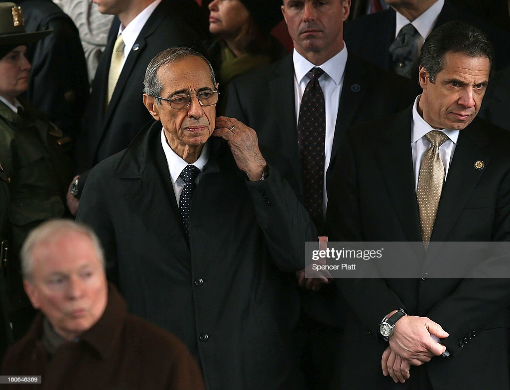 New York Governor <a gi-track='captionPersonalityLinkClicked' href=/galleries/search?phrase=Andrew+Cuomo&family=editorial&specificpeople=228332 ng-click='$event.stopPropagation()'>Andrew Cuomo</a> (R) and his father former Governor <a gi-track='captionPersonalityLinkClicked' href=/galleries/search?phrase=Mario+Cuomo+-+Pol%C3%ADtico&family=editorial&specificpeople=209344 ng-click='$event.stopPropagation()'>Mario Cuomo</a> exit funeral services for former New York Mayor Ed Koch at Manhattan's Temple Emanu-El on February 4, 2013 in New York City.The iconic former New York mayor passed away on February 1, 2013 in New York City at age 88. Ed Koch was New York's 105th mayor and ran the city from 1978-89. He was often outspoken and combative and has been credited with rescuing the city from near-financial ruin during a three-term City Hall run.