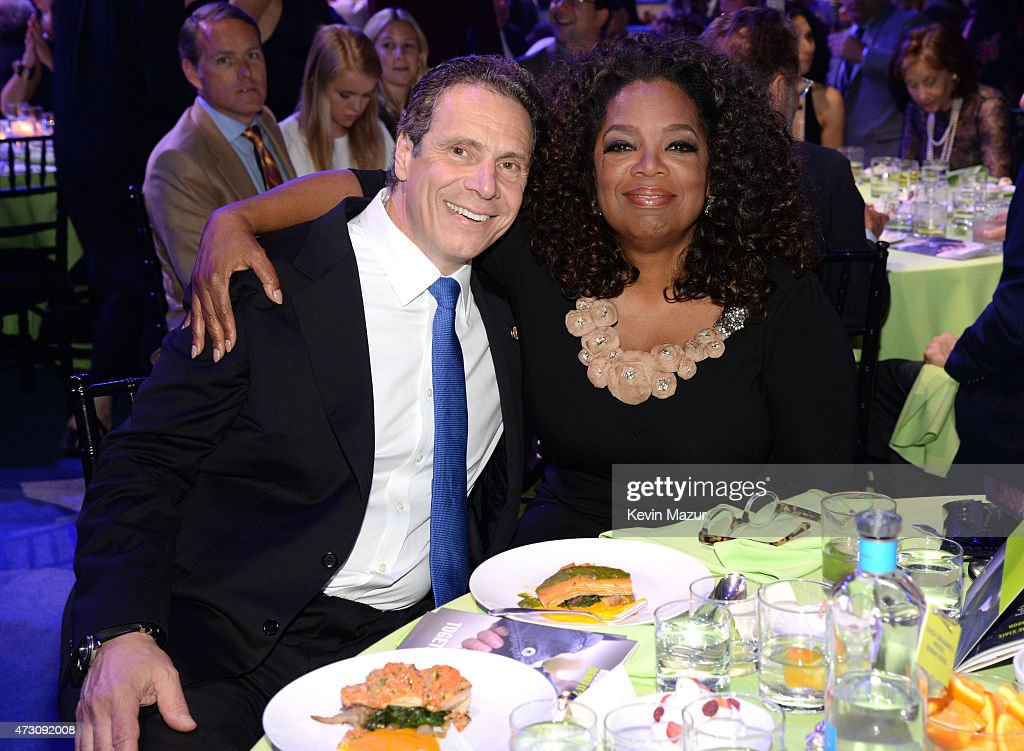 New York Governor Andrew Cuomo and Oprah Winfrey attend The Robin Hood Foundation's 2015 Benefit at Jacob Javitz Center on May 12 2015 in New York...