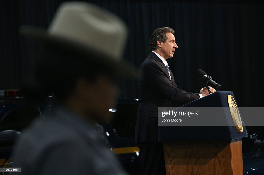 New York Governor <a gi-track='captionPersonalityLinkClicked' href=/galleries/search?phrase=Andrew+Cuomo&family=editorial&specificpeople=228332 ng-click='$event.stopPropagation()'>Andrew Cuomo</a> announces a new bill with tougher penalties for texting while driving at a press conference at the Javits convention center on May 31, 2013 in New York City. The governor proposed additional penalties for young and new drivers ahead of the summer school break.