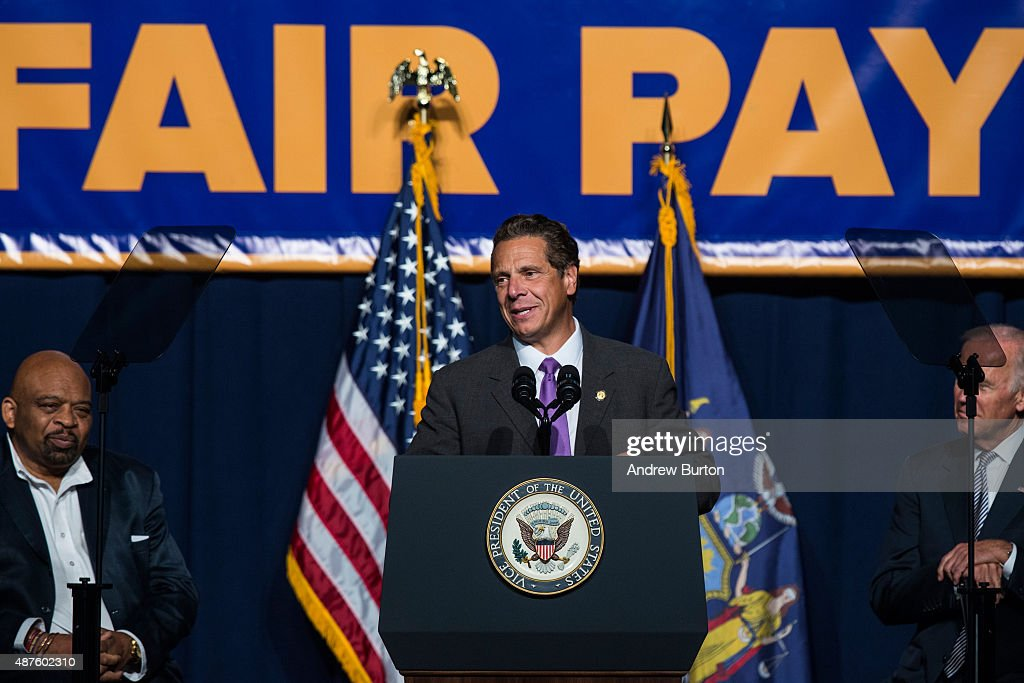 New York Governor <a gi-track='captionPersonalityLinkClicked' href=/galleries/search?phrase=Andrew+Cuomo&family=editorial&specificpeople=228332 ng-click='$event.stopPropagation()'>Andrew Cuomo</a> (C) announces his support to raise the minimum wage for the state of New York to $15 per hour on September 10, 2015 in New York City. U.S. Vice President Joe Biden, who also attended the announcement, said he would like to see the federal minimum wage risen to $12 per hour.