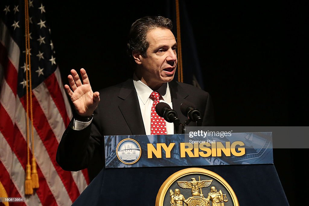 New York Governor <a gi-track='captionPersonalityLinkClicked' href=/galleries/search?phrase=Andrew+Cuomo&family=editorial&specificpeople=228332 ng-click='$event.stopPropagation()'>Andrew Cuomo</a> delivers his State of the State and budget proposals at The City College of New York on February 6, 2013 in New York City. Among issues addressed were the cost of the recovery from Hurricane Sandy, policing, economic development and education. His $142.6 million executive budget would increase state spending by 2 percent and raise school aid by 4.4 percent, to $21 billion.