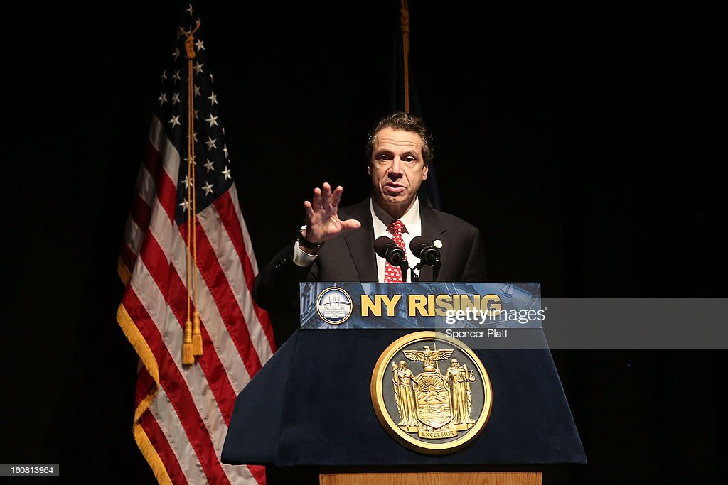 New York Governor Andrew Cuomo delivers his State of the State and budget proposals at The City College of New York on February 6, 2013 in New York City. Among issues addressed were the cost of the recovery from Hurricane Sandy, policing, economic development and education. His $142.6 million executive budget would increase state spending by 2 percent and raise school aid by 4.4 percent, to $21 billion.