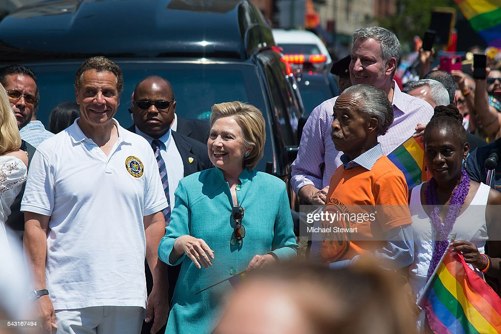 New York Governor <a gi-track='captionPersonalityLinkClicked' href=/galleries/search?phrase=Andrew+Cuomo&family=editorial&specificpeople=228332 ng-click='$event.stopPropagation()'>Andrew Cuomo</a>, Democratic Presidential candidate HIllary Clinton, New York City Mayor <a gi-track='captionPersonalityLinkClicked' href=/galleries/search?phrase=Bill+de+Blasio&family=editorial&specificpeople=6224514 ng-click='$event.stopPropagation()'>Bill de Blasio</a>, Reverend <a gi-track='captionPersonalityLinkClicked' href=/galleries/search?phrase=Al+Sharpton&family=editorial&specificpeople=202250 ng-click='$event.stopPropagation()'>Al Sharpton</a> and <a gi-track='captionPersonalityLinkClicked' href=/galleries/search?phrase=Chirlane+McCray&family=editorial&specificpeople=8014891 ng-click='$event.stopPropagation()'>Chirlane McCray</a> attend the 2016 Pride March on June 26, 2016 in New York City.