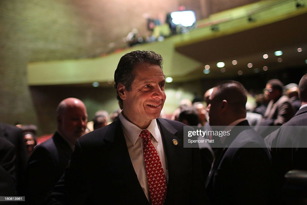 New York Governor <a gi-track='captionPersonalityLinkClicked' href=/galleries/search?phrase=Andrew+Cuomo&family=editorial&specificpeople=228332 ng-click='$event.stopPropagation()'>Andrew Cuomo</a> pauses after delivering his State of the State and budget proposals at The City College of New York on February 6, 2013 in New York City. Among issues addressed were the cost of the recovery from Hurricane Sandy, policing, economic development and education. His $142.6 million executive budget would increase state spending by 2 percent and raise school aid by 4.4 percent, to $21 billion.
