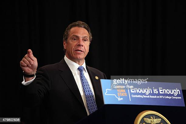 New York Governor Andrew Cuomo speaks at an event at New York University where he signed where he signed into law a new affirmative sexual consent...