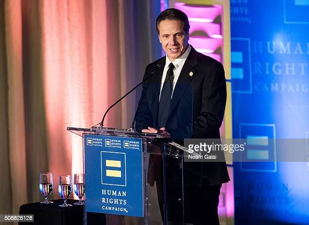 New York Governor Andrew Cuomo speaks at the 2016 Human Rights Campaign New York gala dinner at The Waldorf=Astoria on February 6 2016 in New York...