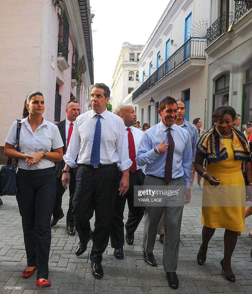 New York Governor Andrew Cuomo walks along Old Havana on April 20 2015 A delegation of the US state of New York led by Democrat Governor Cuomo...