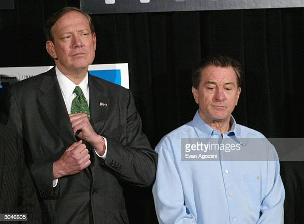 New York Governor George Pataki and actor Robert De Niro attend the 2004 Tribeca Film Festival kickoff media conference at Silver Cup Studios March 5...