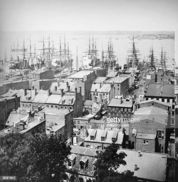 Ships moored in New York Harbour seen from Trinity Church looking towards New Jersey Built in 1846 Trinity Church was until the turn of the century...
