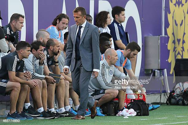 New York head coach Jason Kreis is seen on the sidelines during an MLS soccer match between the New York City FC and the Orlando City SC at the...