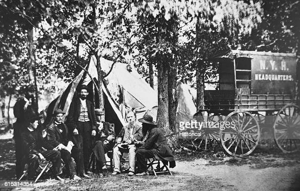 A New York Herald delivers newspapers to the military in the field during the Civil War ca 18611865 | Location in the field