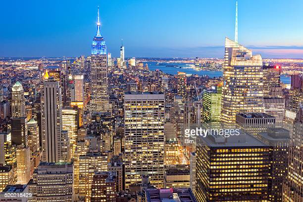 New York Illuminated at Dusk, Elevated View