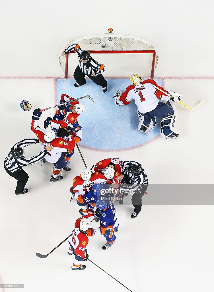 New York Islanders and Florida Panthers get tangked up in front of the net in Game Six of the Eastern Conference First Round during the NHL 2016 Stanley Cup Playoffs at the Barclays Center on April 24, 2016 in Brooklyn borough of New York City.