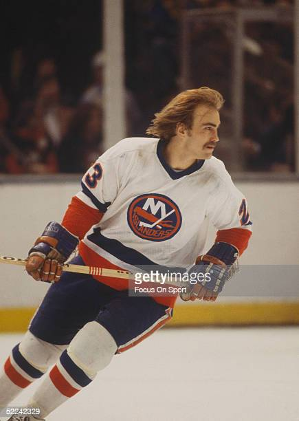 New York Islanders' Bob Nystrom skates during a game against the Montreal Canadiens at Nassau Coliseum circa 1980 in Uniondale New York