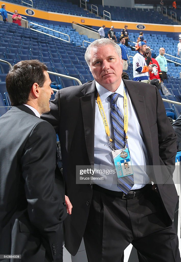 New York Islanders General Manager <a gi-track='captionPersonalityLinkClicked' href=/galleries/search?phrase=Garth+Snow&family=editorial&specificpeople=203328 ng-click='$event.stopPropagation()'>Garth Snow</a> is pictured during round one of the 2016 NHL Draft on June 24, 2016 in Buffalo, New York.