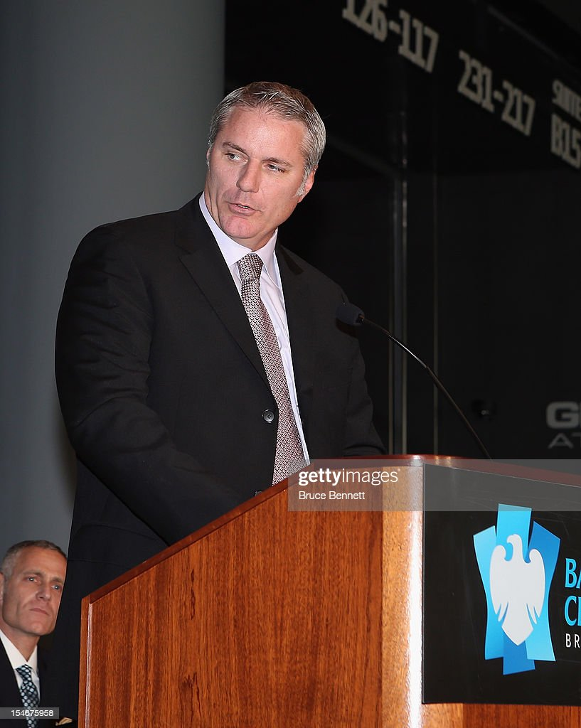 New York Islanders general manager Garth Snow speaks with the media at a press conference announcing the New York Islanders' move to Brooklyn in 2015 at the Barclays Center on October 24, 2012 in the Brooklyn borough of New York City.