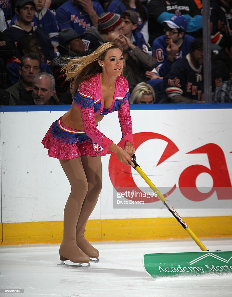 A New York Islanders ice girl works the game against the New York Rangers at the Nassau Veterans Memorial Coliseum on March 7, 2013 in Uniondale, New York. The Rangers defeated the Islanders 2-1 in overtime.