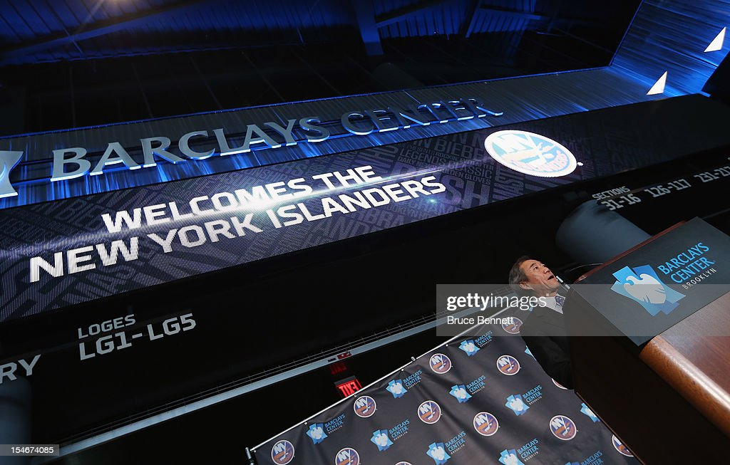 New York Islanders owner Charles Wang announces the team's move to the Barclays in 2015 at a press conference at the Barclays Center on October 24, 2012 in the Brooklyn borough of New York City.