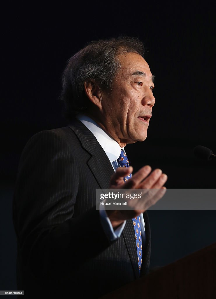 New York Islanders owner Charles Wang announces the team's move to the Barclay Center in 2015 at a press conference at the Barclays Center on October 24, 2012 in the Brooklyn borough of New York City.