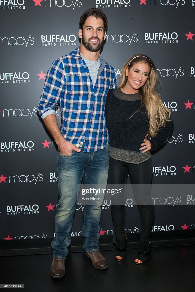New York Jet Buffalo David Bitton spokesperson Eric Decker and wife Jessie James Decker make an in store appearance at Macy's Herald Square on...