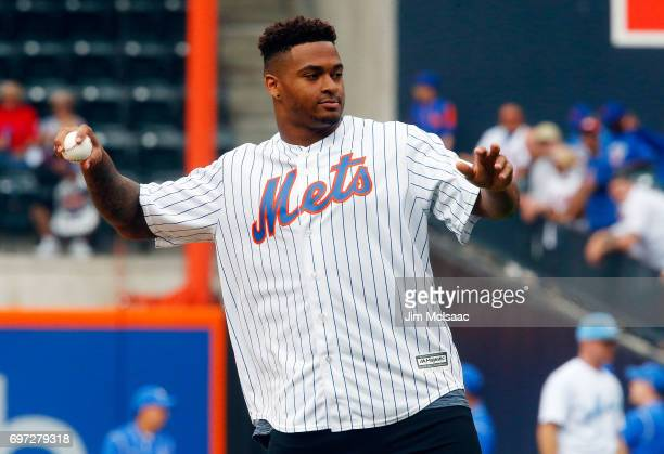 New York Jets 2017 first round draft pick Jamal Adams throws the ceremonial first pitch before a game between the New York Mets and the Washington...