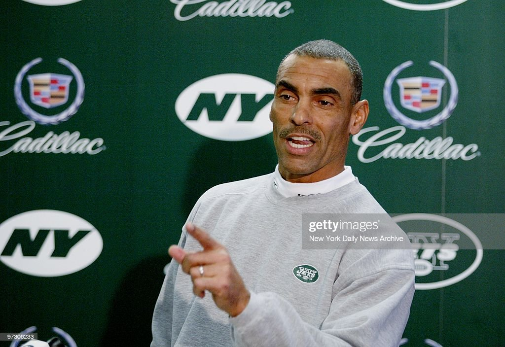 New York Jets' coach Herman Edwards speaks to the media at the Jets' training facility at Hofstra University as his team prepares to take on the...
