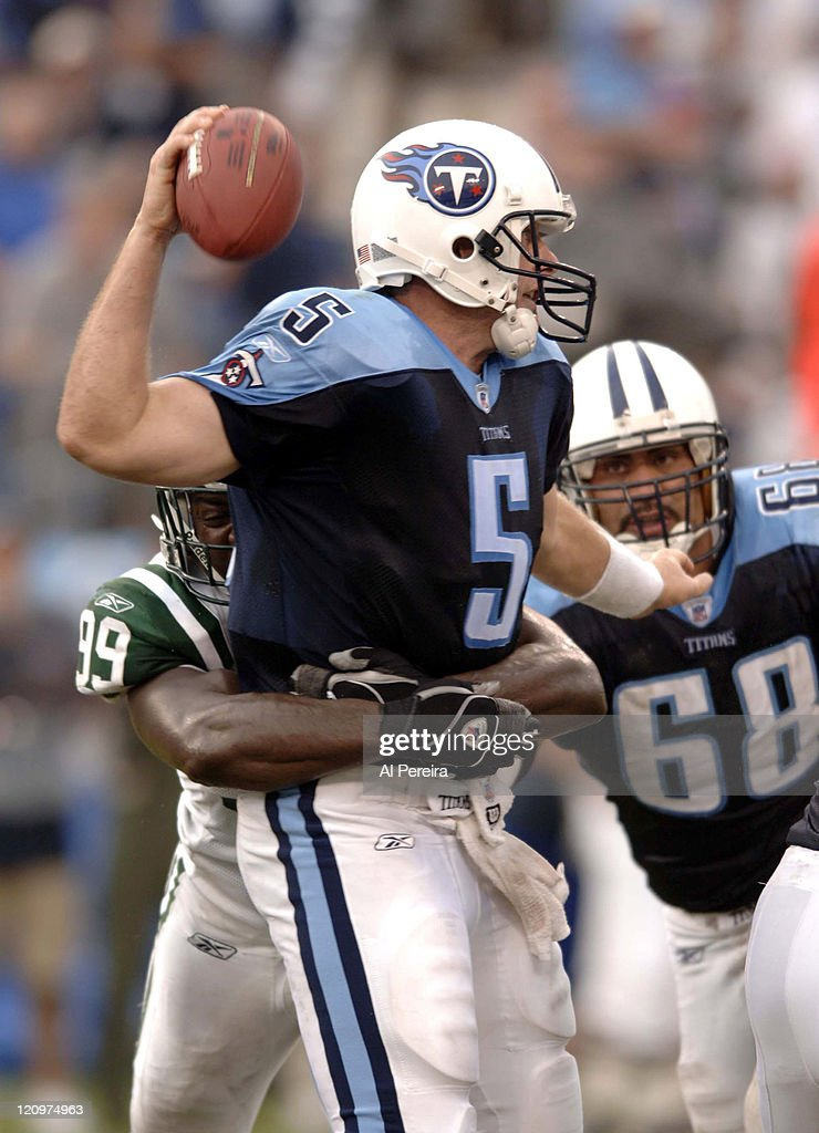 New York Jets DE Bryan Thomas in action during the Jets' 2316 win over the Titans at LP Field Nashville Tennessee September 10 2006