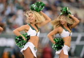 New York Jets Flight Crew cheerleaders perform in the second half of the New York Jets 2413 win over the Cleveland Browns at MetLife Stadium on...
