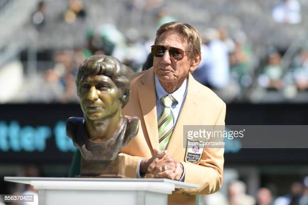New York Jets Hall of Famer Joe Namath during the Hall of Fame Ring of Excellence ceremony prior to the start of the Jacksonville Jaguars at New York...
