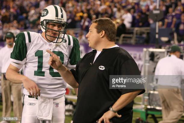 New York Jets Head Coach Eric Mangini and QB Chad Pennington in action during the New York Jets 2613 victory over the Minnesota VIkings at the HHH...