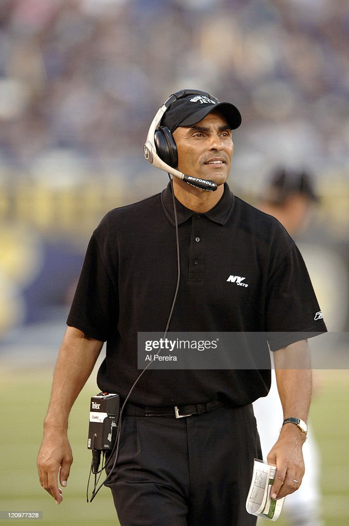New York Jets Head Coach Herman Edwards coaching during the the Baltimore Ravens vs New York Jets on game October 2 2005 at MT Bank Stadium